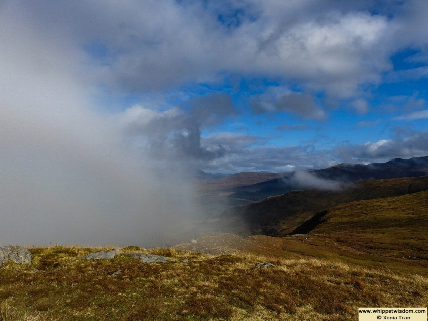 Cloud and bank of mist on Sgurr Finnisg-aig