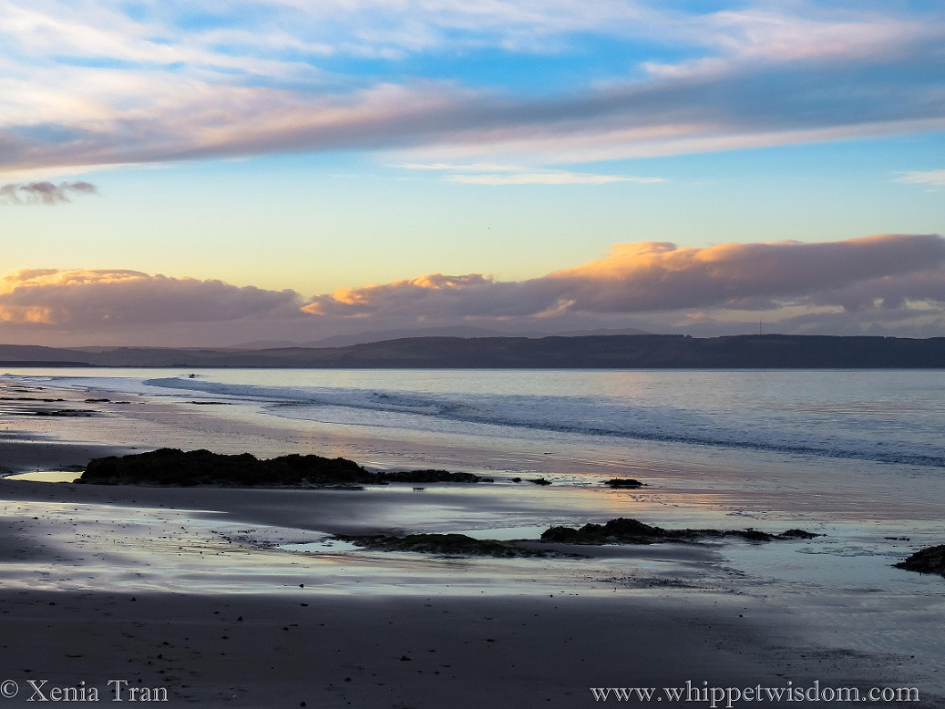 twilight blues, purples and golds over the Moray Firth on an outgoing tide