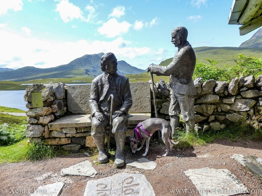 a blue and white whippet sniffing the ground by the sculpture of Peach and Horne at Knockan Crag