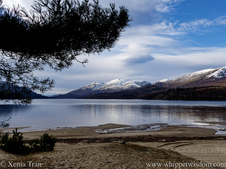 Loch Laggan in Winter with snow on the peaks of the hills