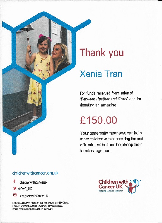 Thank You Certificate from Children with Cancer UK