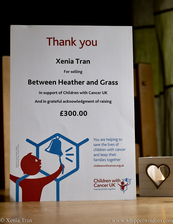 2021 Charity Donation Certificate from Children with Cancer UK for Xenia Tran