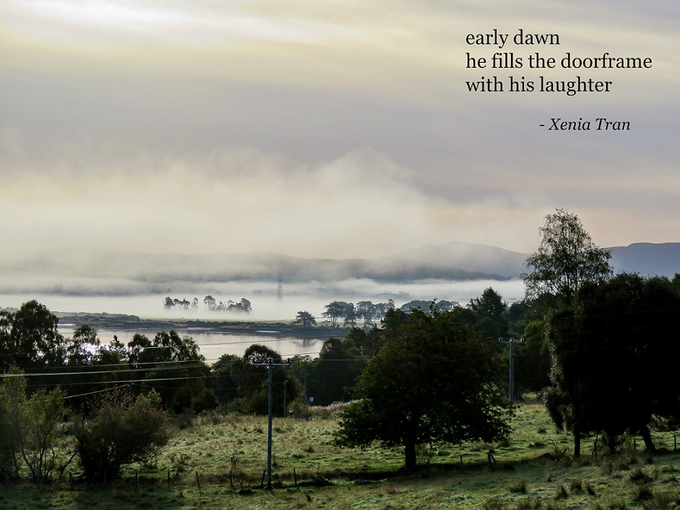 haiku by Xenia Tran with an image of a early dawn mist rising from the Kyle